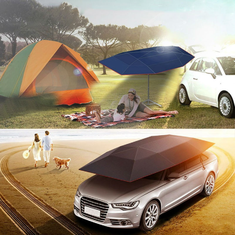 Portable Semi-automatic Outdoor Waterproof Car Umbrella Canopy Sun Shade Camping Tent Anti-UV Sun