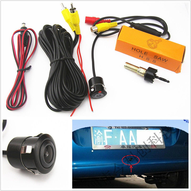 18.5mm 170掳CCD Automobile Reverse Backup Parking Camera Kit Waterproof